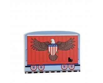"""American Eagle Train car for the Pride of America train Collection handcrafted in 3/4"""" thick wood by The Cat's Meow Village in the USA."""
