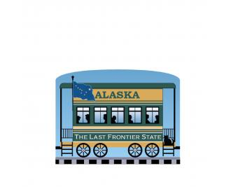 """Add this Alaska train car to your Pride Of America train set to remind you of the good times you had in this state. Handcrafted in 3/4"""" thick wood by The Cat's Meow Village in Wooster, Ohio."""