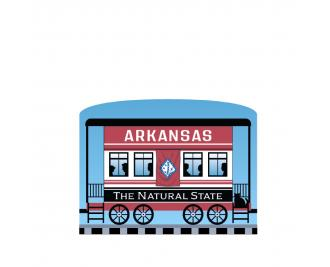 """Add this Arkansas train car to your Pride Of America train set to remind you of the good times you had in this state. Handcrafted in 3/4"""" thick wood by The Cat's Meow Village in Wooster, Ohio."""