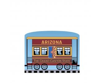 """Add this Arizona train car to your Pride Of America train set to remind you of the good times you had in this state. Handcrafted in 3/4"""" thick wood by The Cat's Meow Village in Wooster, Ohio."""