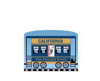 """Add this California train car to your Pride Of America train set to remind you of the good times you had in this state. Handcrafted in 3/4"""" thick wood by The Cat's Meow Village in Wooster, Ohio."""