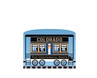 """Add this Colorado train car to your Pride Of America train set to remind you of the good times you had in this state. Handcrafted in 3/4"""" thick wood by The Cat's Meow Village in Wooster, Ohio."""
