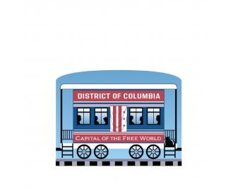 """District of Columbia train car for the Pride of America train Collection handcrafted in 3/4"""" thick wood by The Cat's Meow Village in the USA."""