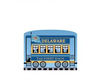 """Add this Delaware train car to your Pride Of America train set to remind you of the good times you had in this state. Handcrafted in 3/4"""" thick wood by The Cat's Meow Village in Wooster, Ohio."""