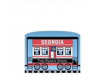 """Add this Georgia train car to your Pride Of America train set to remind you of the good times you had in this state. Handcrafted in 3/4"""" thick wood by The Cat's Meow Village in Wooster, Ohio."""