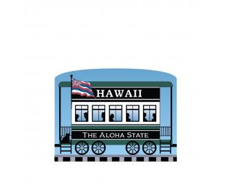 """Add this Hawaii train car to your Pride Of America train set to remind you of the good times you had in this state. Handcrafted in 3/4"""" thick wood by The Cat's Meow Village in Wooster, Ohio."""