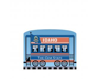 """Add this Idaho train car to your Pride Of America train set to remind you of the good times you had in this state. Handcrafted in 3/4"""" thick wood by The Cat's Meow Village in Wooster, Ohio."""