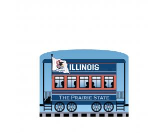 """Add this Illinois train car to your Pride Of America train set to remind you of the good times you had in this state. Handcrafted in 3/4"""" thick wood by The Cat's Meow Village in Wooster, Ohio."""