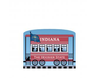 """Add this Indiana train car to your Pride Of America train set to remind you of the good times you had in this state. Handcrafted in 3/4"""" thick wood by The Cat's Meow Village in Wooster, Ohio."""
