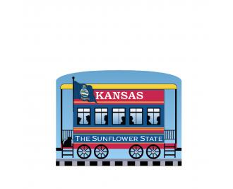 """Add this Kansas train car to your Pride Of America train set to remind you of the good times you had in this state. Handcrafted in 3/4"""" thick wood by The Cat's Meow Village in Wooster, Ohio."""