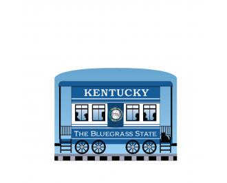 """Add this Kentucky train car to your Pride Of America train set to remind you of the good times you had in this state. Handcrafted in 3/4"""" thick wood by The Cat's Meow Village in Wooster, Ohio."""