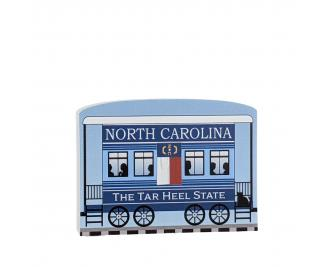 """Add this North Carolina train car to your Pride Of America train set to remind you of the good times you had in this state. Handcrafted in 3/4"""" thick wood by The Cat's Meow Village in Wooster, Ohio."""