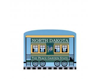 """Add this North Dakota train car to your Pride Of America train set to remind you of the good times you had in this state. Handcrafted in 3/4"""" thick wood by The Cat's Meow Village in Wooster, Ohio."""