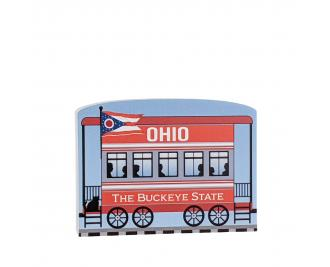 """Add this Ohio train car to your Pride Of America train set to remind you of the good times you had in this state. Handcrafted in 3/4"""" thick wood by The Cat's Meow Village in Wooster, Ohio."""