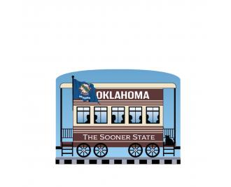 """Add this Oklahoma train car to your Pride Of America train set to remind you of the good times you had in this state. Handcrafted in 3/4"""" thick wood by The Cat's Meow Village in Wooster, Ohio."""