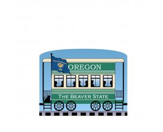 """Add this Oregon train car to your Pride Of America train set to remind you of the good times you had in this state. Handcrafted in 3/4"""" thick wood by The Cat's Meow Village in Wooster, Ohio."""