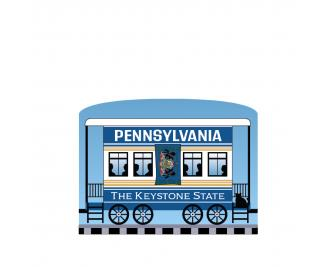 """Add this Pennsylvania train car to your Pride Of America train set to remind you of the good times you had in this state. Handcrafted in 3/4"""" thick wood by The Cat's Meow Village in Wooster, Ohio."""
