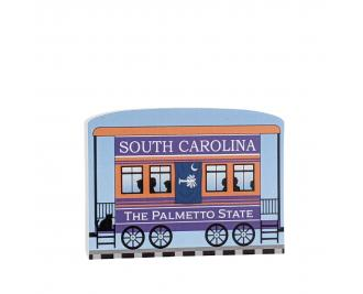 """Add this South Carolina train car to your Pride Of America train set to remind you of the good times you had in this state. Handcrafted in 3/4"""" thick wood by The Cat's Meow Village in Wooster, Ohio."""
