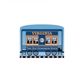 """Add this Virginia train car to your Pride Of America train set to remind you of the good times you had in this state. Handcrafted in 3/4"""" thick wood by The Cat's Meow Village in Wooster, Ohio."""