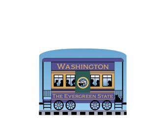 """Add this Washington train car to your Pride Of America train set to remind you of the good times you had in this state. Handcrafted in 3/4"""" thick wood by The Cat's Meow Village in Wooster, Ohio."""