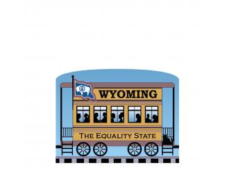 """Add this Wyoming train car to your Pride Of America train set to remind you of the good times you had in this state. Handcrafted in 3/4"""" thick wood by The Cat's Meow Village in Wooster, Ohio."""