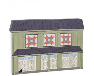 """Farmer's Daughter quilt block barn handcrafted by The Cat's Meow Village in Wooster, Ohio. Made in 3/4"""" thick wood to set on a shelf, ledge or windowsill."""