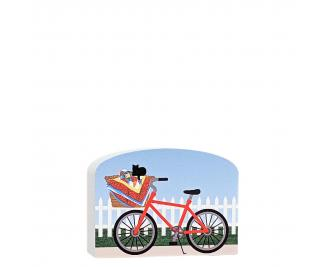"Add this cute red bike carrying a newly finished quilt to your Cat's Meow Quilt Block Collection. Handcrafted in Wooster, Ohio of 3/4"" thick wood."