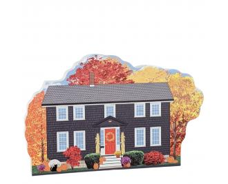 "Witch's Coffin Cottage, Autumn in Salem, Massachusetts. Handcrafted in the USA 3/4"" thick wood by Cat's Meow Village."