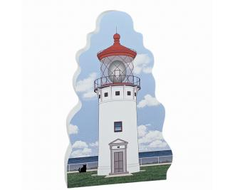 """Wooden replica of Kilauea Lighthouse, Hawaii, handcrafted in 3/4"""" wood by the Cat's Meow Village in the USA."""
