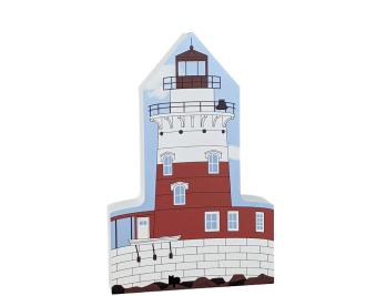 """Robbins Reef Light, Bayonne, New Jersey. Handcrafted in the USA 3/4"""" thick wood by Cat's Meow Village."""