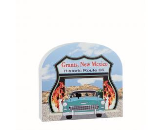 """RT 66-Neon Drive Thru, Grants, New Mexico. Handcrafted in the USA 3/4"""" thick wood by Cat's Meow Village."""