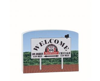 Wooden souvenir of the midway point sign on Route 66 in Adrian, Texas. Handcrafted by The Cat's Meow Village in the USA.