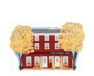 """Red's Sandwich Shop in Salem, MA all decorated for fall and Halloween. Crafted in 3/4"""" thick wood by The Cat's Meow Village in the USA."""