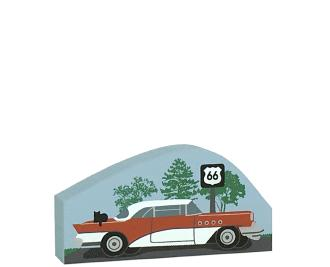 "Get your kicks on Route 66 with our 3/4"" thick wooden replica of a 1950s car cruising past a RT 66 sign. Handmade by The Cat's Meow Village in the USA."
