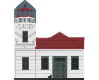 Charming wooden shelf sitter décor of the Mukilteo Lighthouse handcrafted in the U.S. by The Cat's Meow Village