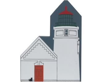 Decorate your home with a little wooden Village that reminds you of Heceta Head Lighthouse. Handcrafted in wood by The Cat's Meow Village.