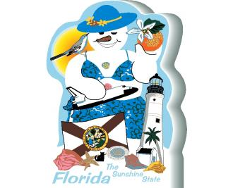 Florida State Snowman handcrafted by The Cat's Meow Village and made in the USA.