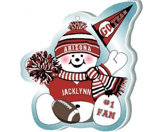 Show your team spirit with this Arizona football snowman ornament. Add your name as the #1 Fan. Handcrafted in the USA!