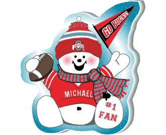 Add your name to this OSU Buckeye football fan ornament to let everyone know you are a #1 Bucks Football Fan. Handcrafted in Wooster, Ohio by The Cat's Meow Village.