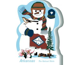 Arkansas State Snowman handcrafted and made in the USA.