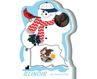 Show your state pride with this snowman representing Illinois' interesting facts. Handcrafted of wood in the USA.
