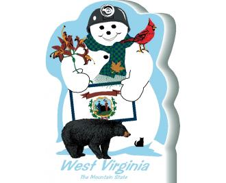 West Virginia State Snowman handcrafted and made in the USA.