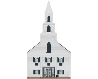 Remember your trip to X with a wooden keepsake of the First Congregational Church to decorate your home created by The Cat's Meow Village