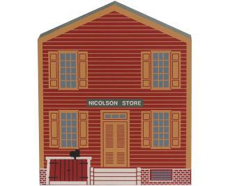 Handcrafted wooden keepsake of theNicolson Store in Colonial Williamsburg, VA