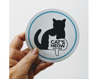 """4"""" Vinyl sticker of Cat's Meow Village logo with teal edge"""