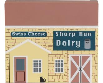 Handcrafted wooden shelf sitter of the Cheese House created by The Cat's Meow Village