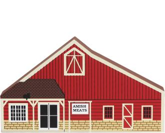 Wooden shelf sitter décor of the Amish Meats barn handcrafted in the U.S. by The Cat's Meow Village