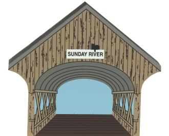 Wooden shelf sitter of Sunday River Bridge to decorate your home by The Cat's Meow Village.