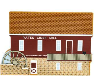 Wooden shelf sitter of the Yates Cider Mill to decorate your home by The Cat's Meow Village.