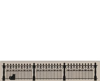 "Vintage Wrought Iron Fence from Accessories handcrafted from 1/2"" thick wood by The Cat's Meow Village in the USA"